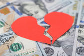 Broken Heart On Dollar Bills — Stock Photo