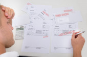 Frustrated Man With Unpaid Bills — Stock Photo