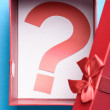 Gift Box With Question Mark Symbol — Stock Photo #62706367