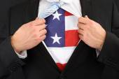 Businessman Showing American Flag — Stock Photo
