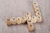 Quality, Time And Money Cubes — Stock Photo