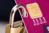 Padlock Attached To Credit Card — Stock Photo