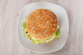 Burger In Plate On Floor — Stock Photo