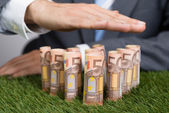 Businessman Shielding Euro Notes On Grass — Stock Photo