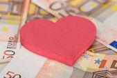 Heart Shape On Euro Banknotes — Stock Photo