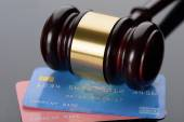 Wooden Gavel With Credit Card — Stock Photo