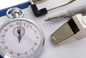 Clipboard With Whistle And Stopwatch — Stock Photo