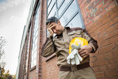 Upset Male Worker With Hardhat — Stock Photo