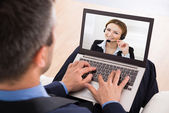 Businessman Video Chatting — Stock Photo