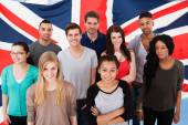 Students In Front Of Uk Flag — Stock Photo