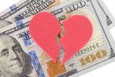 Broken Heart On Us Currency — Stock Photo