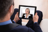 Businessman Video Conferencing — Stock Photo