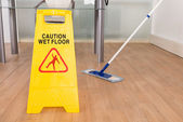 Wet Floor Sign And Mop — Stock Photo