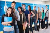 College Students Standing In Row — Stock Photo