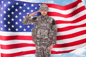 American Soldier Saluting — Stock Photo