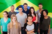 People In Front Of Brazil Flag — Stock Photo