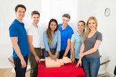 Resuscitation Training Using First-aid Dummy — Stock Photo