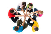 Friends Stacking Hands — Stock Photo