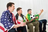 Friends Enjoying Football Game — Stock Photo