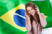 Woman Listening Brazilian Language Audiobook — Stock Photo