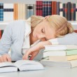 Student Sleeping In Library — Foto Stock #66382821