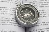 Compass On Opened Book — Stock Photo