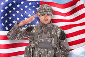 Soldier In Front Of American Flag — Stock Photo