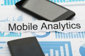 Mobile Phone with Text Analytics — Stock Photo