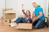 Couple Enjoying In New Home — Foto de Stock