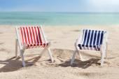 Two Deckchairs On Beach — Stock Photo