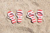 Pairs Of Striped Flip-flops — Stock Photo