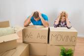 Stressed Couple In New Home — Stock Photo
