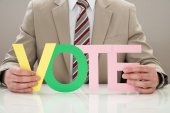 Businessperson With Word Vote — Stock Photo