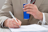 Businessman With Drink Can — Stock Photo