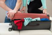 Couple Together Packing Luggage — Stock Photo