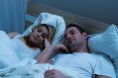 Bored Couple Lying In Bed — Stock Photo