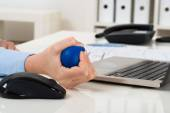 Hand Squeezing Stress Ball — Stock Photo