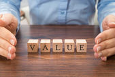 Businessperson With Value Word — Stock Photo