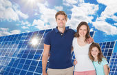 Family In Front Large Solar Panel — Stock Photo