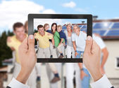 Person's Hands Taking Photo Of Family — Stock Photo