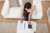 Confident Woman Calculating Finances — Stock Photo