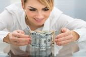 Businesswoman With Dollar Banknotes — Stock Photo