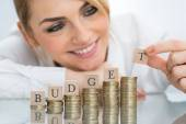 Businesswoman With Budget Blocks — Stock Photo