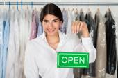 Owner Showing Open Sign — Stockfoto