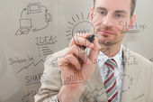 Businessman Writing Start Up Plan — Stock Photo