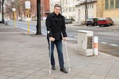 Man Walk Using Crutches — Stock Photo