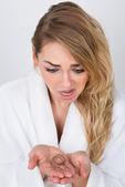 Woman Holding Loss Hair — Stock Photo