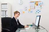 Businesswoman With Computer In Office — Stock Photo