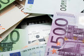 Euro Banknotes Over Electricity Meter — Stock Photo