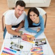 Couple Choosing Color From Swatch — Stock Photo #76115095